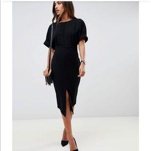 ASOS Black Front Slit Dress